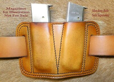 Double MAG POUCH 45acp Single Stack magazine 1911's / Sig P220's  Leather