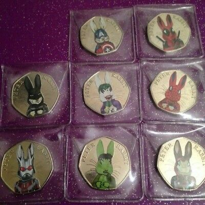 Circulated Coloured 2016 Peter Rabbit 50P Coin Super Heroes Full Set Of 8
