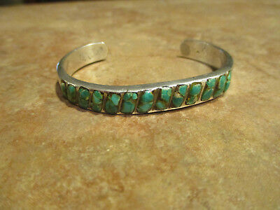 Fine OLD PAWN Navajo Sterling Silver Inlay Turquoise ROW Bracelet