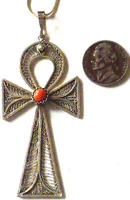 ⭐ Antique Cross Ankh 1900 ✞ Coral Bead Cabochon ☧ Egyptian 800 Silver Filigree