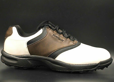 03ee36e70a2c FOOTJOY GreenJoys Men Golf Shoes w/o Soft Spikes Size 12M White Brown  Leather