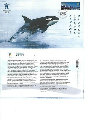 Canada First Day Cover 2010 City Stamp Vancouver Olympic Games Whale - Fdc