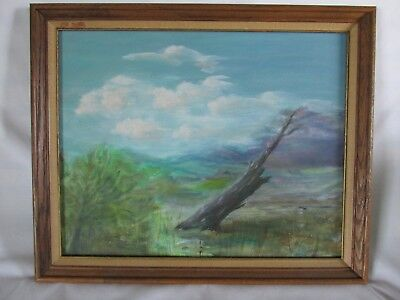 Vintage Oil on Board Painting of Interesting Serene Wild Landscape, Signed