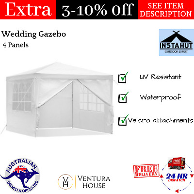 Wedding Gazebo 3x3m Outdoor Party Camping Event Canopy 4 Panels White Instahut