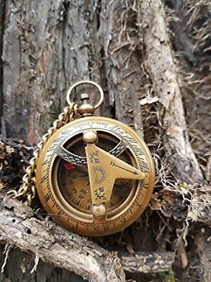 Vintage Push Button Sundial Nautical Brass Compass with Chain Engraved Compass,