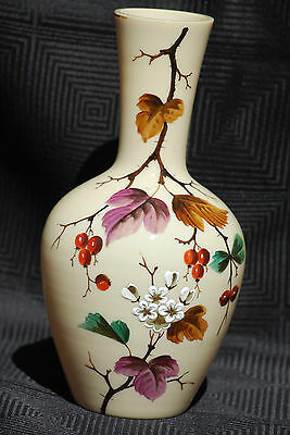 Antique Victorian Hand Painted Opaque Glass Vase 25.2cm High - Excellent