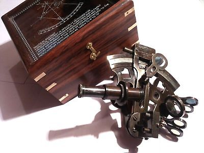 """Brass Sextant German Marine Sextant 4"""" With Wooden Box Antique"""