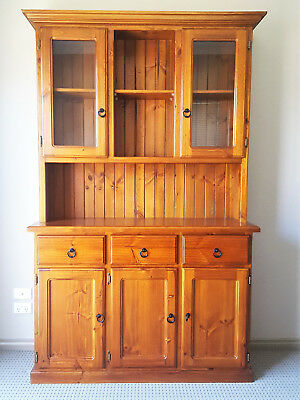 Outstanding Kitchen Dresser Solid Pine Timber 3 Drawer Buffet Hutch Home Interior And Landscaping Eliaenasavecom
