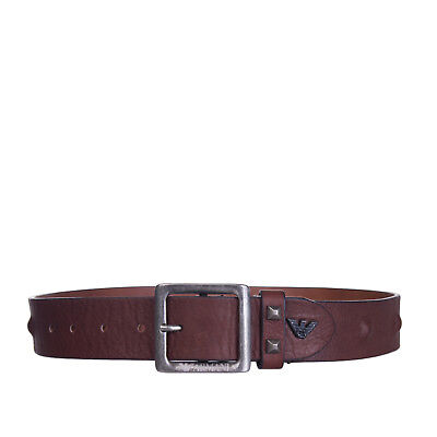 ARMANI JUNIOR Leather Belt Size M Crumpled Effect Covered Studs Made in Italy