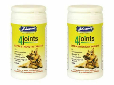 Johnsons 4Joints Extra Strength Tablets Arthritis Dogs Cats 30 Tablets 2 PACK