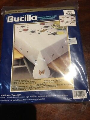 "Bucilla Stamped Cross Stitch And Embroidery Tablecloth 60"" X 90"" Wildflowers"