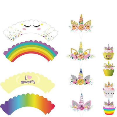 24x Unicorn Cup Cake Muffin Cupcake Wrappers Cases Toppers Birthday Party Decor