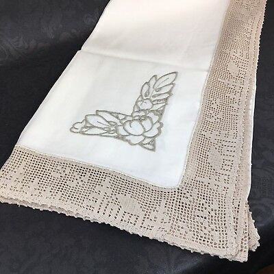 "New Vintage Linen Crocheted Embroidered Tablecloth Bordered Brown 58""x58"""