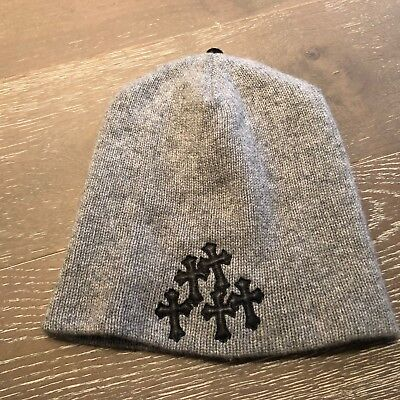 a60c0ee5f40dc Chrome Hearts Gray Heart Cashmere With Black Leather Logo Accent One Size  25 Cm