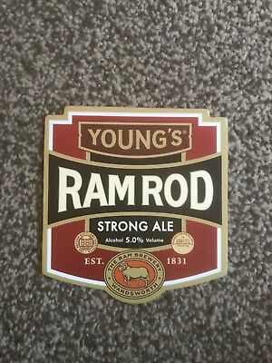 Young's Ram Rod Strong Ale Beer Pump Clip Breweriana Brand New Free Fast P+P