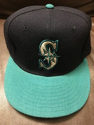 5C Vintage Seattle Mariners New Era Fitted Hat Diamond Collection Wool Cap  7 3 4 7188b19813b1