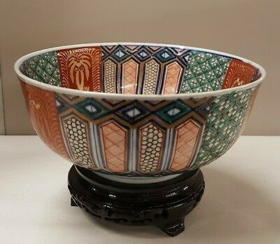 "Antique JAPANESE IMARI BOWL Panels Exquisite Fancy 8-1/4"" Geometry Inside Out"
