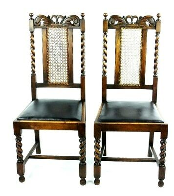 Pair of Antique Oak and Leather Dinning Chairs - FREE Shipping [PL4587]