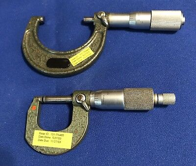 "LOT OF 2 MITUTOYO MICROMETER 1-2"" .0001"" No. 103-136"