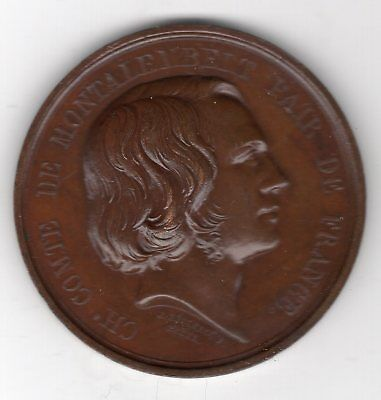 1838 Belgium Medal Issued to Honor Comte de Montalembert Pair France By Leclercq