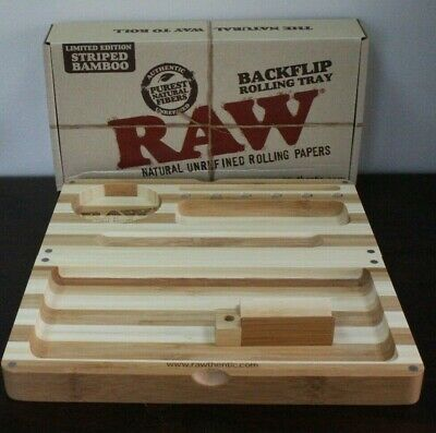 Raw Backflip Striped Bamboo Magnetic Rolling Tray 4'X 8 1/2' New In Box