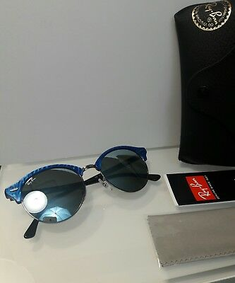 0f3d762592 Ray-Ban Clubround Sunglasses Rb4246 984 30 Blue silver Mirror Lens 51Mm New
