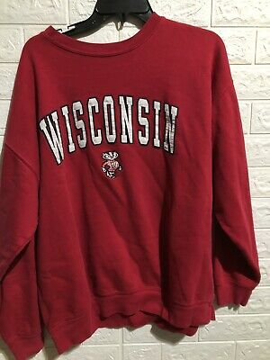 9e03a8ba3 Vintage Wisconsin Badgers Sweater L XL Red Football Crew Neck Embroidered  No Tag