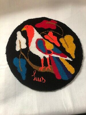 LUIS MONTIEL  VINTAGE  ROUND RARE TAPESTRY/ Pillow Cover  SIGNED Bird