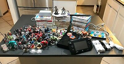 Wii U 32GB Lot Black 39 Games Disney Infinity Figures Accessories Controllers
