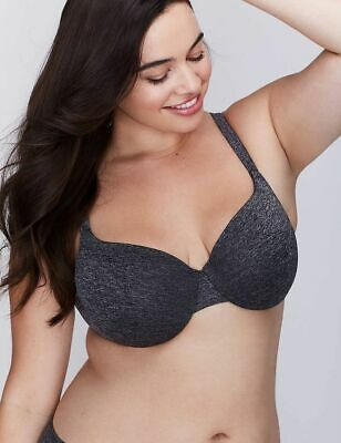 ae26d38acf Lane Bryant Cacique True Embrace Lightly Lined T-Shirt Bra Black Marl SIZE  42DD