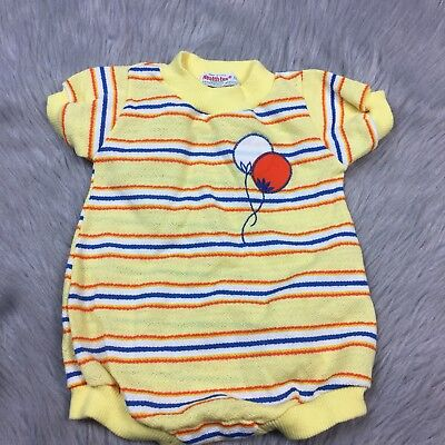 Vintage Healthtex Baby Boys Yellow Orange Blue Striped Balloon Romper