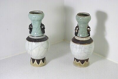 A Pair of 19th Century Chinese Celadon Crackle Glaze Vases Late Qing