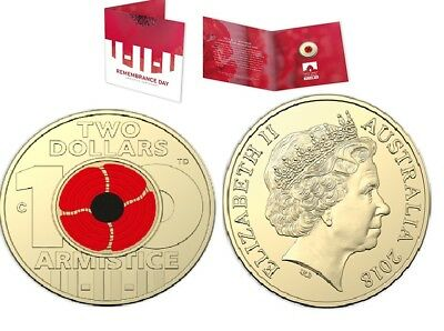 2018 $2 'C' Mintmark Uncirculated Coin Remembrance Day - Armistice Centenary