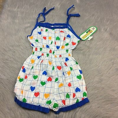 NOS Vintage Girls White Blue Shoulder Tie Romper Sunsuit Heart Print Carrots