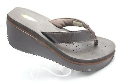 ccab9a698f0f03 Volatile Womens Size 7 Brown Leather Flip Flops Platform Wedge Thong Sandals