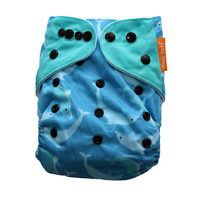 New Dolphins Pocket Cloth Diaper Happy Flute with Snaps *USA Seller*