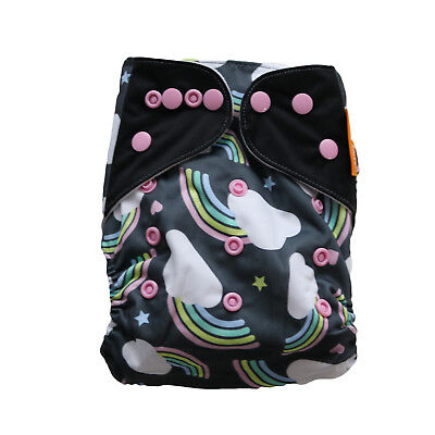 New Black Rainbows Pocket One-Size Cloth Diaper Happy Flute w/ Snaps USA Seller