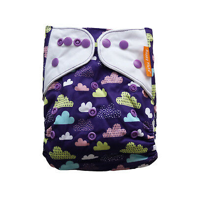 New Purple Rain Clouds Pocket One-Size Cloth Diaper Happy Flute Snaps USA Seller