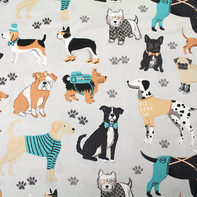 "Dogs On Dove Grey 100% cotton fabric sold by the meter 63"" super width 1901009"