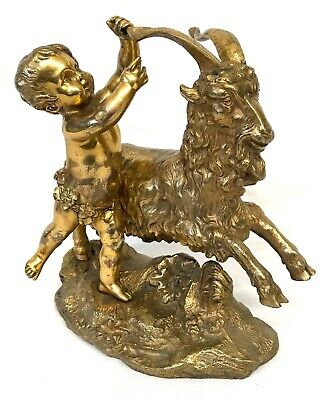 Antique Parcel Gilt Bronze Figure Of A Putti Cherub Grasping A Goats Horn Statue