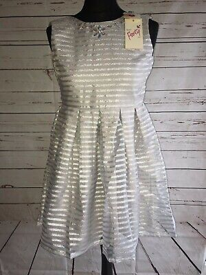 Yumi Girls Grey Silver Sparkly Stripe Organza Skater Dress Age 11/12 Bnwt