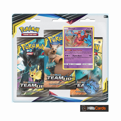 Pokemon Team Up Triple Pack Blister Booster - Deoxys - Sun & Moon - TCG Cards