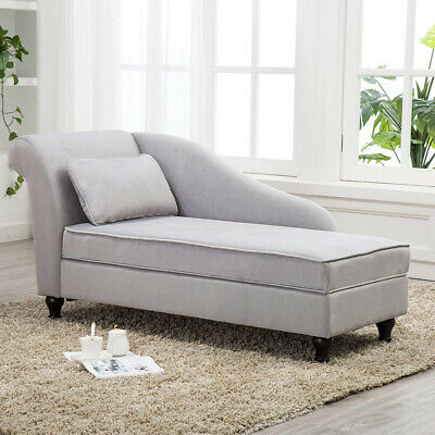 Modern Chaise Lounge Storage Sofa Chair Couch For Living Room Or Bedroom Gray