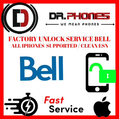 Factory Bell Unlock Service For Bell Iphone Xs Xr X 8 8+ 7+ 7 6+ 6 Clean Unlock