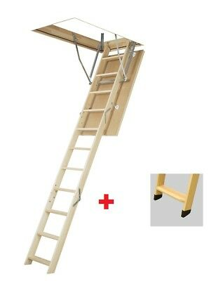 Attic Steps H280 60x100 Wooden Staircase 100x60 Space-Saver Stairs with Feet Lws