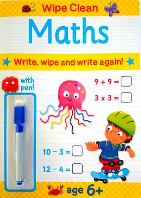 NEW Wipe Clean MATHS Book with PEN Age 6+ Ready for School Learning 2019