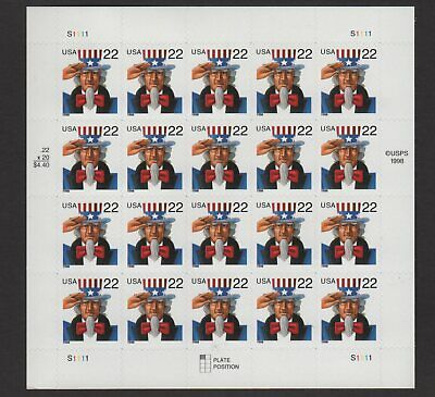 US 22¢ Uncle Sam Stamp Sheet Scott #3259