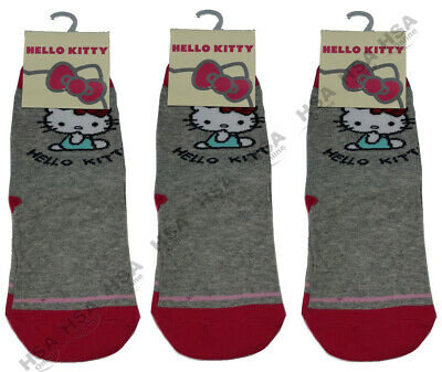 CLEARANCE 3 Pairs Girls Kids Hello Kitty Socks,Novelty Cute UK 12.5-3.5