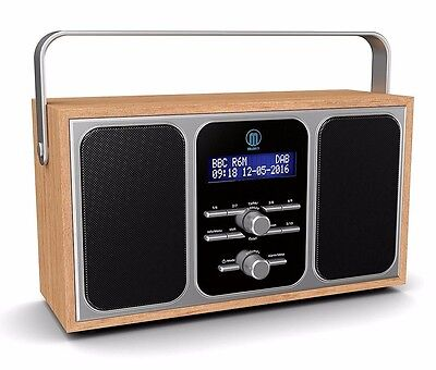 Majority Girton Stereo DAB+ DAB FM Digital Portable Radio Alarm Clock Wooden