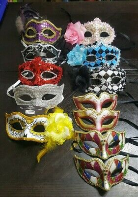 12 PC Mixed Mardi Gras Eye Mask Masquerade Masks Quince Birthday Costume Party